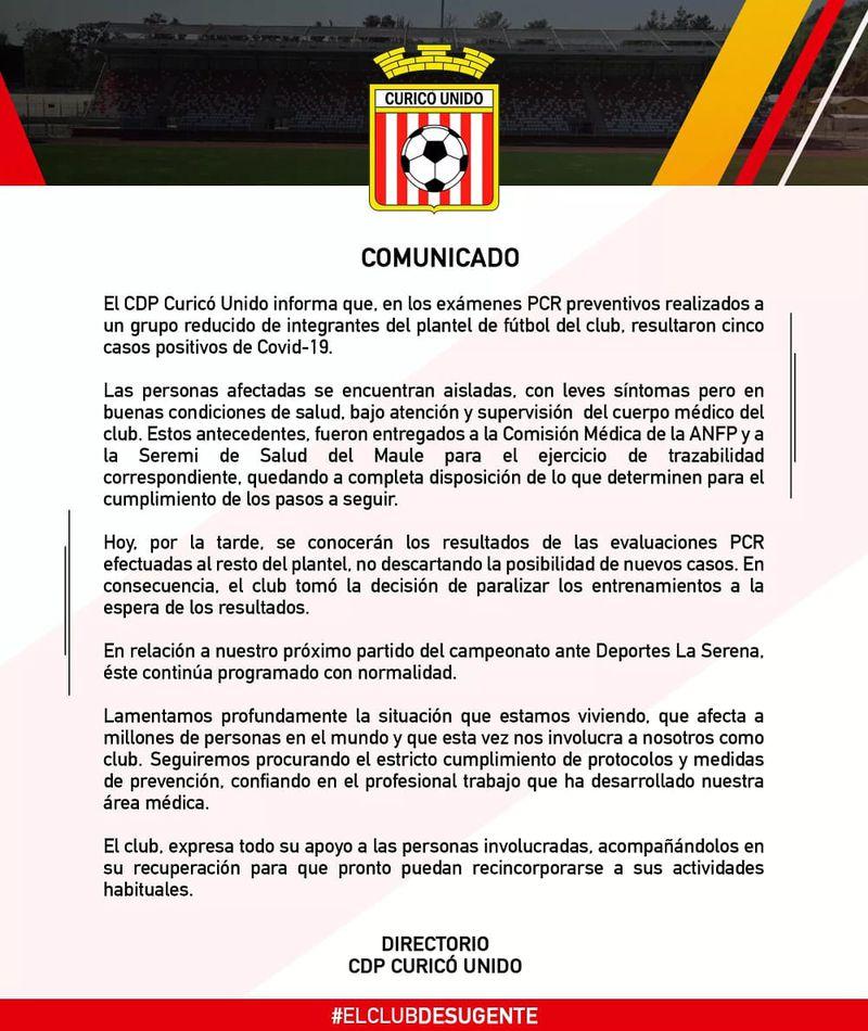 Curicó informa cinco casos de COVID en el plantel.