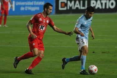 Octavo Rivero y Tomás Alarcón durante el partido entre O'Higgins y Unión La Calera. FOTO: Agencia Uno.