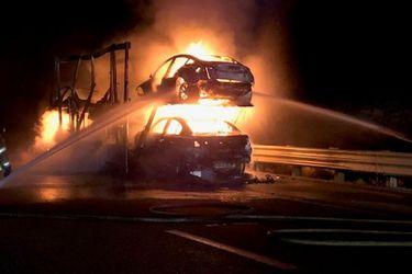 Nevada-car-trailer-fire