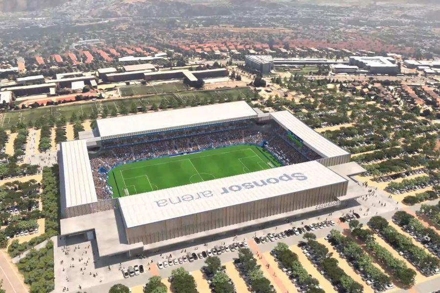 Vista aérea virtual del remodelado estadio San Carlos de Apoquindo, la Nueva Fortaleza Cruzada.