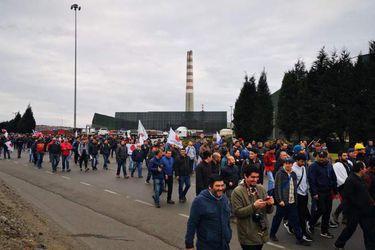 Protesta de trabajadores de Codelco por Ventanas